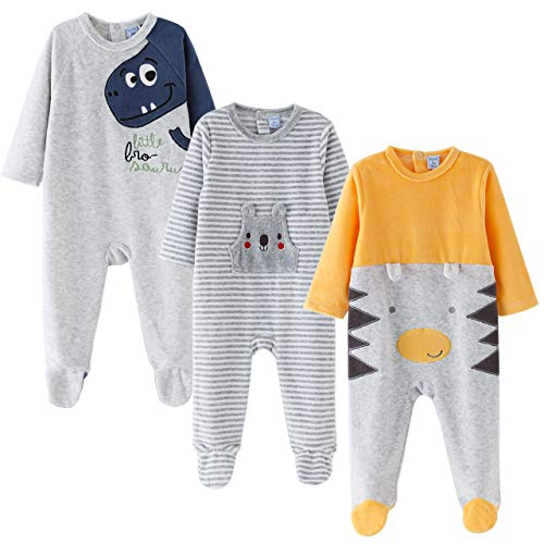 Amomí, Pijamas Terciopelo para Bebé, Pelele para Bebé Niño 12 Mes, Manga Larga, Set de 3 (12...