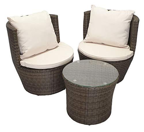 KMH®, 3-teilige Polyrattan Gartensitzgruppe *Felipa* inklusive Sesselauflage und Kissen - Farbkombination: braun/Weiss (#106406)