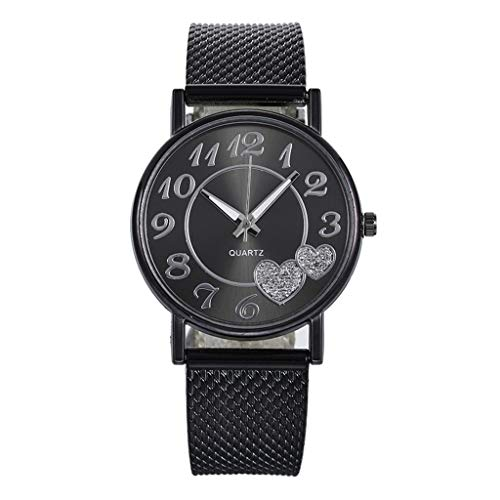 Fenverk Damen-Armbanduhr, Mesh-Edelstahl-Band, lässige runde Quarz-Armbanduhr, Geschenk(Black#02)