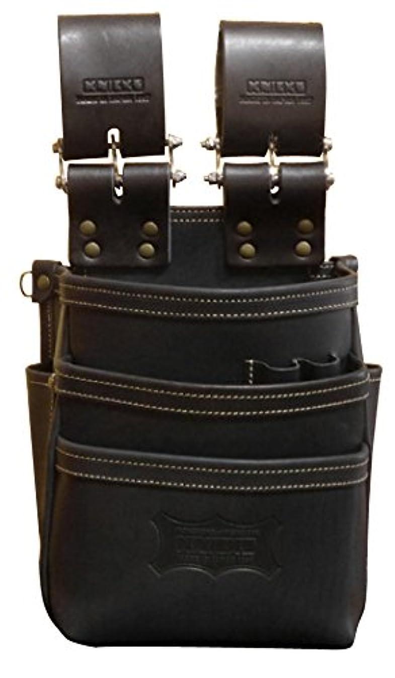 幸運な良心的アスレチックニックス チェーン式総ヌメ革使用3段腰袋(ブラック) KBS-301DDX