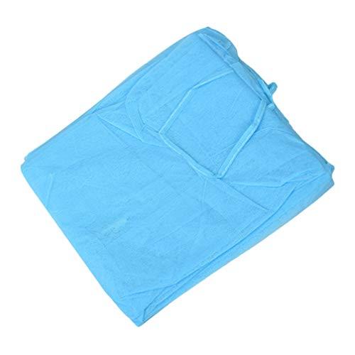 Exceart 5 Stücke Einweg Schutzkleidung Overalls Schutzanzug Maleroverall Maleranzug Vlies Schürze Arbeitskleidung für SPA Tattoo Ärzte Männer Frauen Outdoor (Blau)