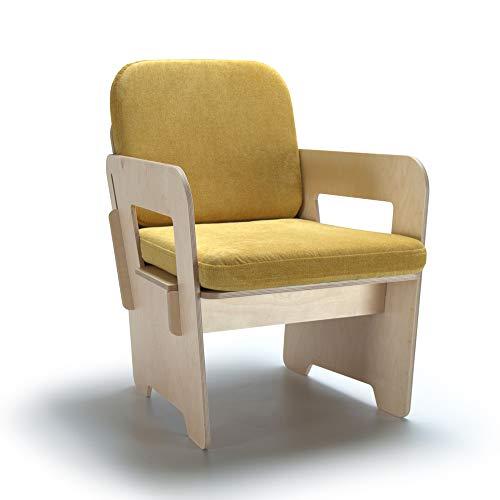 Butaca de diseño amarilla con estructura de mandera