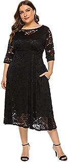 Funien New Fashion Women Plus Size Dress Crochet Lace Hollow Out O-neck Half Sleeve Party Slim Dress Black/White