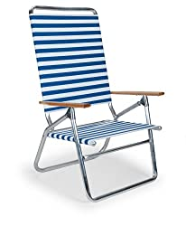 top rated Telescopic, casual, lightweight, foldable beach chair for boys, blue and white stripes (71113601) 2021