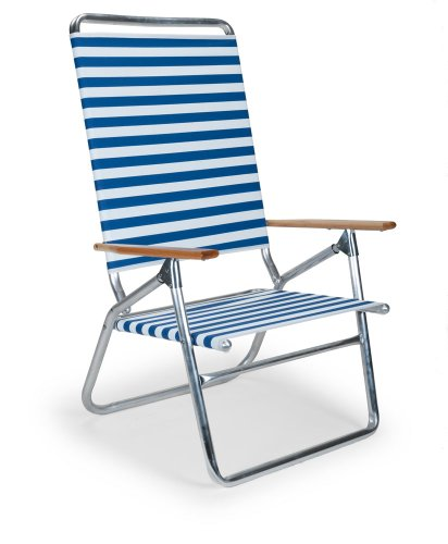 Telescope Casual Light and Easy High Boy Folding Beach Arm Chair, Blue White Stripe (71113601)