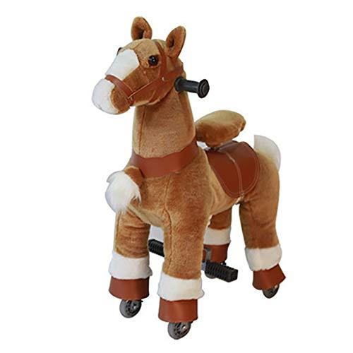 Caballo Mecanico Paseo en el caballo del juguete, caballo marrón con negro del enganche No Batería No Electricidad Mecánica del potro Pequeño Pony Arre juguete de felpa que recorre por niños Edad 3+ J