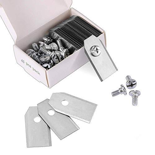 45 x Titan Messer Klingen für alle Husqvarn® Automower®/Yardforce/Gardena Mähroboter (3g - 0,75mm) inkl. 45 Schrauben, Diese Ersatzmesser passen für 105, 310, 315, 320, 420, 430x, r40i uvm (Silber)
