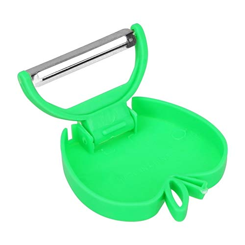 Press Carrot Potato Fruit Shred Foldable Slicer Peeler Vegetable Peeler Knife Durable Razor Sharp Cutter Stainless Steel Blade Flowers (Color : Green)