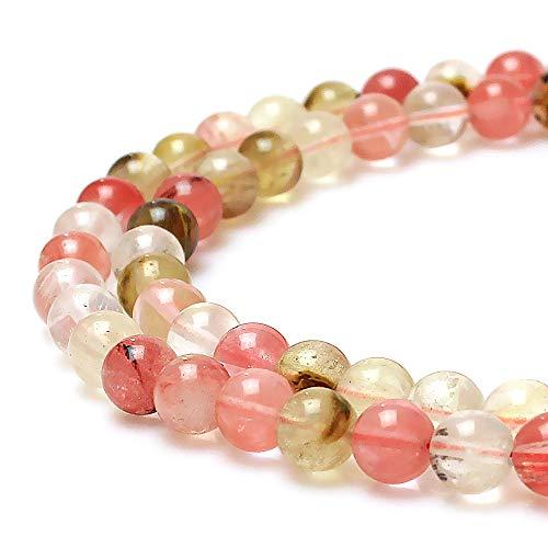 jartc Perles pour Energy Bracelets Bracelet de Yoga Bracelet DIY Perles en Pierre Mélange Couleurs Pastèque Quartz 95 Pièces, 34CM, 4 mm