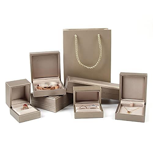 Caja de joyería cepillada joyería embalaje anillo caja collar colgante caja joyería-oro, 6* 6.5* 5cm