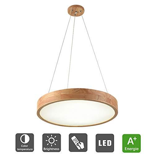 LED Pendelleuchte Holz Dimmbar 36W Rustikal Leuchte Hängeleuchte Esszimmer Hängelampe Rund mit Fernbedienung Wohnzimmer Hoehenverstellbar Deckenlampe für Büro Esstisch Küche Schlafzimmer (50cm)