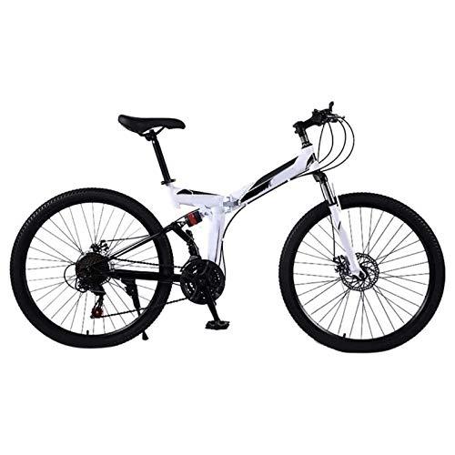Yunyisujiao Mountain Bike, Mountain Bike Pieghevoli da 24 Pollici, MTB a Sospensione Completa per Bicicletta a 21 velocità, Bicicletta per Adulti Portatile per Uomo e Donna (Color : White)