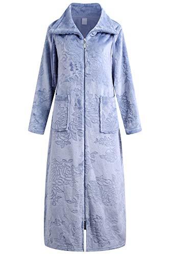 Richie House Long Zipper Robe for Womens Soft Premium Flannel Fleece Bathrobe RHW2883-B-S