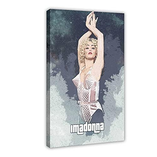 Madonna Singer Pop Music 4 Vintage Art Canvas Poster Art Art Art Decor Cuadro Cuadro Cuadro Cuadro Cuadro Cuadro para Sala Dormitorio Decoración 50 × 75 cm Marco: