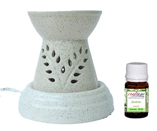 Royal Handicrafts Handcrafted Ceramic Premium Electric Aroma Oil Burner/Oil Diffuser - Ethnic Design Offwhite Matte Finish - Free Jasmine Aroma Oil 20