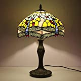 BIAJIAZHUA Lámpara De Escritorio Tiffany Luz del Día,Estilo Pastoral Vitral Libélula Luz De Noche,Clásico Color De Luz Cálida Cuarto Lámpara De Noche (Color : Yellow, Size : 12 Zoll)