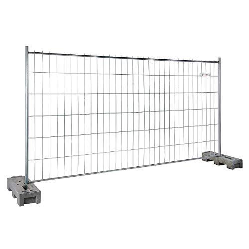Certeo mobiler Bauzaun | HxL 2000 x 3472 mm | Zaun Bauzaunelement Zaunelement Mobilzaun Mobilzaunelement