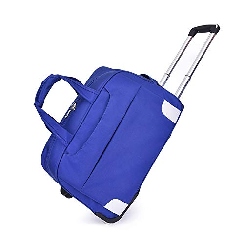 YLLHK Weekend Roller Case, Fashion Small Holdall Sports Bag with Wheels, Foldable Travel Duffle, Suitable for Men Women Outings Business Trips Vacations,Blue,L