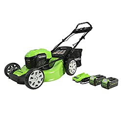 powerful Self-propelled lawn mower Greenworks 40V, 21-inch (Smart Pace), two USB 4 Ah batteries, …