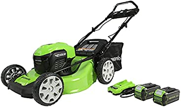Greenworks 40V 21-Inch Brushless Smart Pace Self Propelled Cordless Lawn Mower, (2) 4.0Ah USB Battery (USB Hub) and Charger MO40L4413