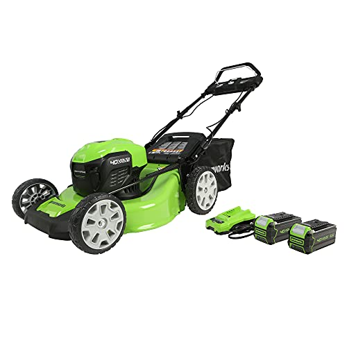 """Greenworks 40V 21"""" Brushless (Smart Pace) Self-Propelled Lawn Mower, 2 x 4Ah USB Batteries and Charger Included MO40L4413"""