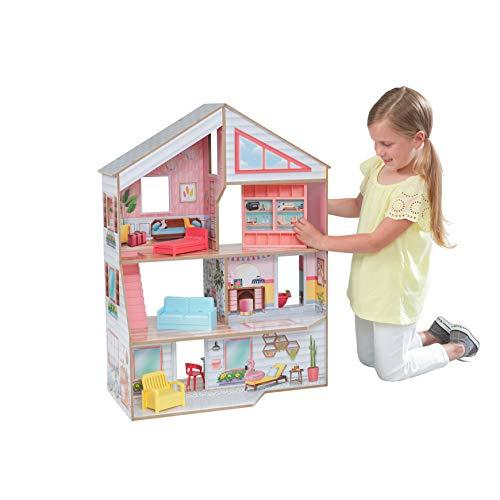KidKraft 10064 Charlie Puppenhaus aus Holz mit Möbeln und Zubehör Spielset mit 3 Spielebenen für Puppen bis 18 cm