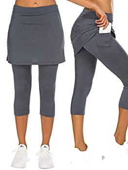 COOrun Tennis Capri Yoga Legging Skirt for Women Stretch Golf Running Capri Skorts Breathable Athletic Skirts Workout Capris Active Gym Sport Fitness Large Dark Gray
