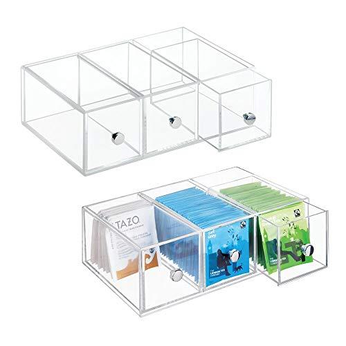 mDesign Minicajonera con 3 cajones de plástico – Perfecta como caja para infusiones y bolsitas de té – Pequeño mueble cajonera para té, sacarina, azucarillos, sal, etc. – transparente - Paquete de 2