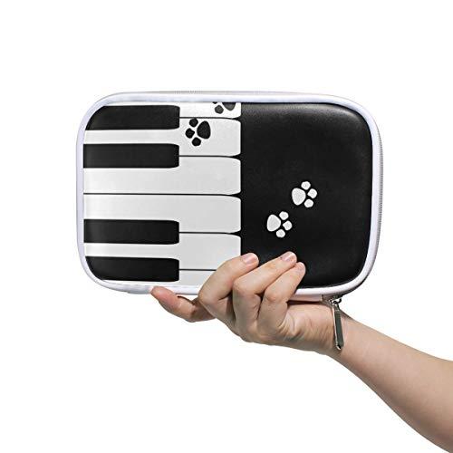 Klavier mit Hund Pfote mehrere große Leder Bleistift Stift Taschen Reise Kosmetik Fall Passport Wallet mit Reißverschluss