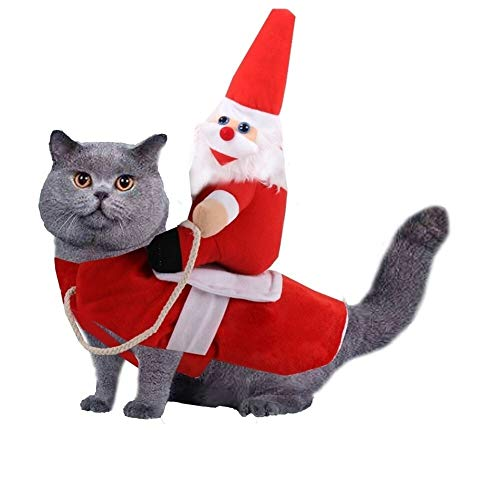Leslaur Weihnachtshund Hunde Shirts Weihnachtsmann Hundekostüme Feiertags-Party-Dressing Kleidung for Small Medium Hundemantel Pet Puppy Katze Winddichter Mantel (Size : L)