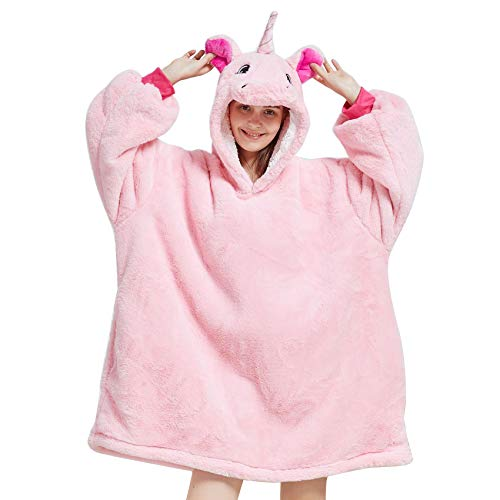 Oversized Hoodie Blanket Wearable Sherpa Blanket Winter Warm Cosy TV Blanket with Cute Animal Hood Sweatshirt for Girls Women Adult Teens