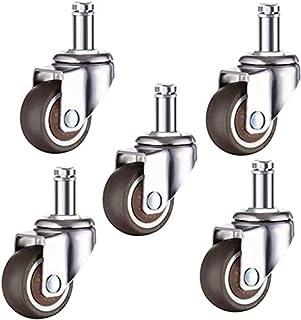 Casters 5 stuks rubberen wielen van 2 inch universele zwenkwielen zonder rem M10/M11 50 mm schacht stille bureaustoel voor...
