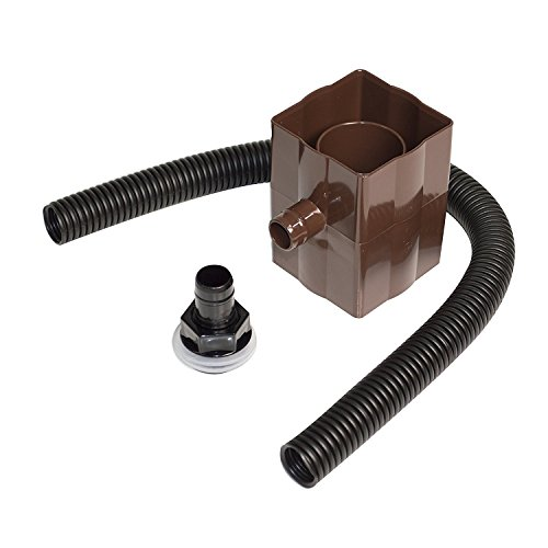 Brown Rain Water Diverter Kit Fits Both Square and Round Down Pipes