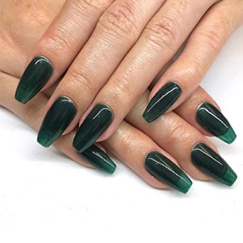 TJJL Faux ongles Pure Green Color Fake Nails Set Ins Green Square Head Press On Nails Long 24Pcs Coffin With2G Nail Glue Faux S Long