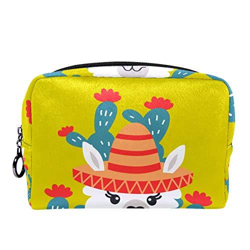 Bolsa de Maquillaje de Viaje portátil,Llave Llama Alpaca Dibujos Animados Nursery Infantil ,Bolsa de cosméticos para Mujeres,Bolsa organizadora de Maquillaje con Cremallera de Belleza