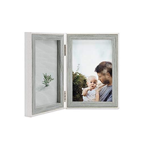 """Afuly - Marco de Fotos Doble Gris con Borde Blanco, Madera de Diseño, Gris y Blanco Exterior, 6""""x4""""(10x15cm)"""