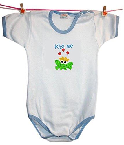 Zigozago - Body Bèbè à Manches Courtes pour bébé avec Broderie Kiss ME Taille: 18-24 Mois - Couleur: Bleu - 100% Coton