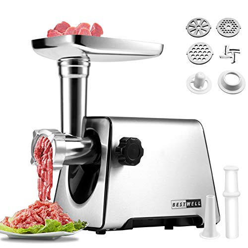 Meat Grinder, Meat Grinders,Sausage Maker,Electric Food Meat Grinder,350W[2800W Max],Stainless Steel Meat Mincer & Sausage Stuffer,3 Stainless Steel Grinding Plates,Sausage & Kubbe Kit for Home Kitchen & Commercial Using.