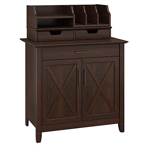Bush Furniture Key West Secretary Desk with Desktop Organizers, Bing Cherry
