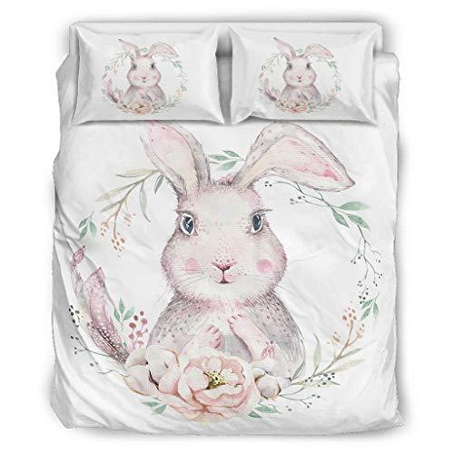 CATNEZA Bettbezug-Sets Weiche Leichte - 3-Teiliges Bettbezug-Set für Jungen Schlafzimmer White 168x229cm