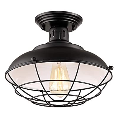 HMVPL Industrial Close to Ceiling Light, Transitional Pendant Lighting Lamp for Kitchen Island, Dining Room, Foyer, Hallway, Porch, Barn, Loft and More