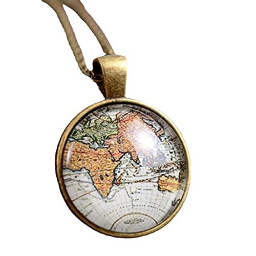 Collar de mapa, regalo de viaje, joyería de viaje, regalo de viaje, collar mundial, regalo de cumpleaños para ella, regalo de novia, mejor amiga