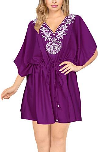 LA LEELA encubrimientos Kimono para Las Mujeres del Traje de baño Violeta_Y388 ES TAMAÑO: 42 (L) - 54 (2XL)