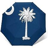 Cy-ril-Automatic tri-fold umbrella Paraguas tríptico automático Impresión de la Bandera del Estado de Carolina del Sur A Prueba de Viento Compacto Apertura automática Paraguas de 3 Pliegues