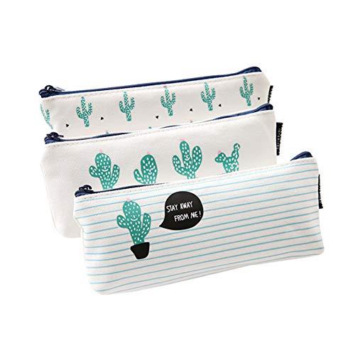 iTemer lindo patrón de cactus con cremallera caja de lápiz bolsa de almacenamiento billetera adecuada para estudiantes de la escuela para utilizar 3 piezas