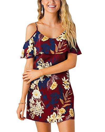YOINS Sommerkleid Damen Sexy Tshirt Kleid Schulterfrei Tunika Kurzarm MiniKleid Strandkleid Blumenmuster Rotwein-01 S
