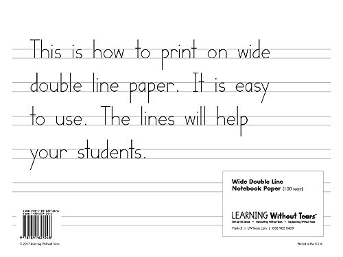 Learning Without Tears Wide Notebook Paper Handwriting Without Tears TK–Grade 1 Double Lined Paper for Writing Handwriting for School or Home Use