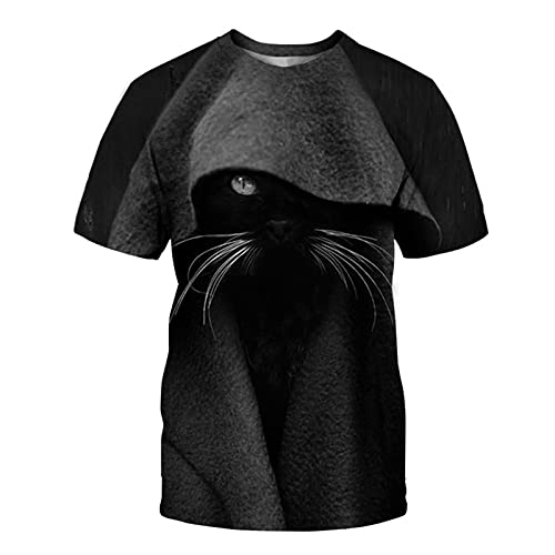 XDJSD Camiseta para Hombre Camiseta Corta De Manga Corta Camiseta De Gran Tamaño Camiseta con Cuello Redondo Top Camiseta para Hombre Camiseta con Estampado De Gato Camiseta De Manga Corta Top