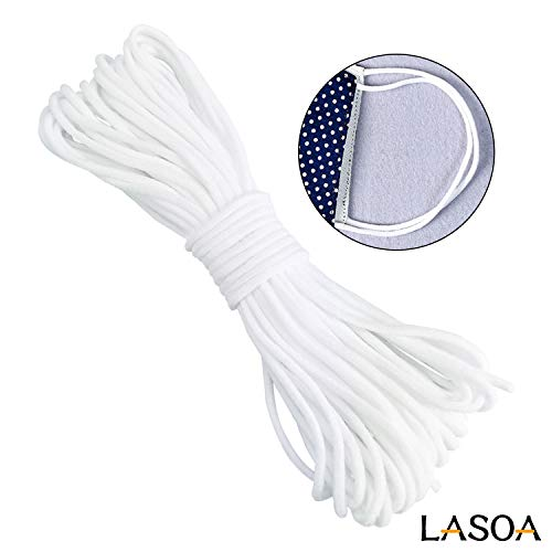 LASOA Elastic Cord Rope White Band 1/8 Inch Round Ear Tie Earloop Strap Handmade String for Crafts DIY Sewing (20M; 22Yard)