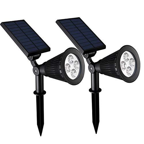 [2 Pack] 4 LED Lampe Solaire Extérieur Eclairage Extérieur Etanche IP65 Lampe Jardin Réglable avec Panneau Solaire 180° Spot Solaire Extérieur pour Jardin Cour Extérieur Chemin